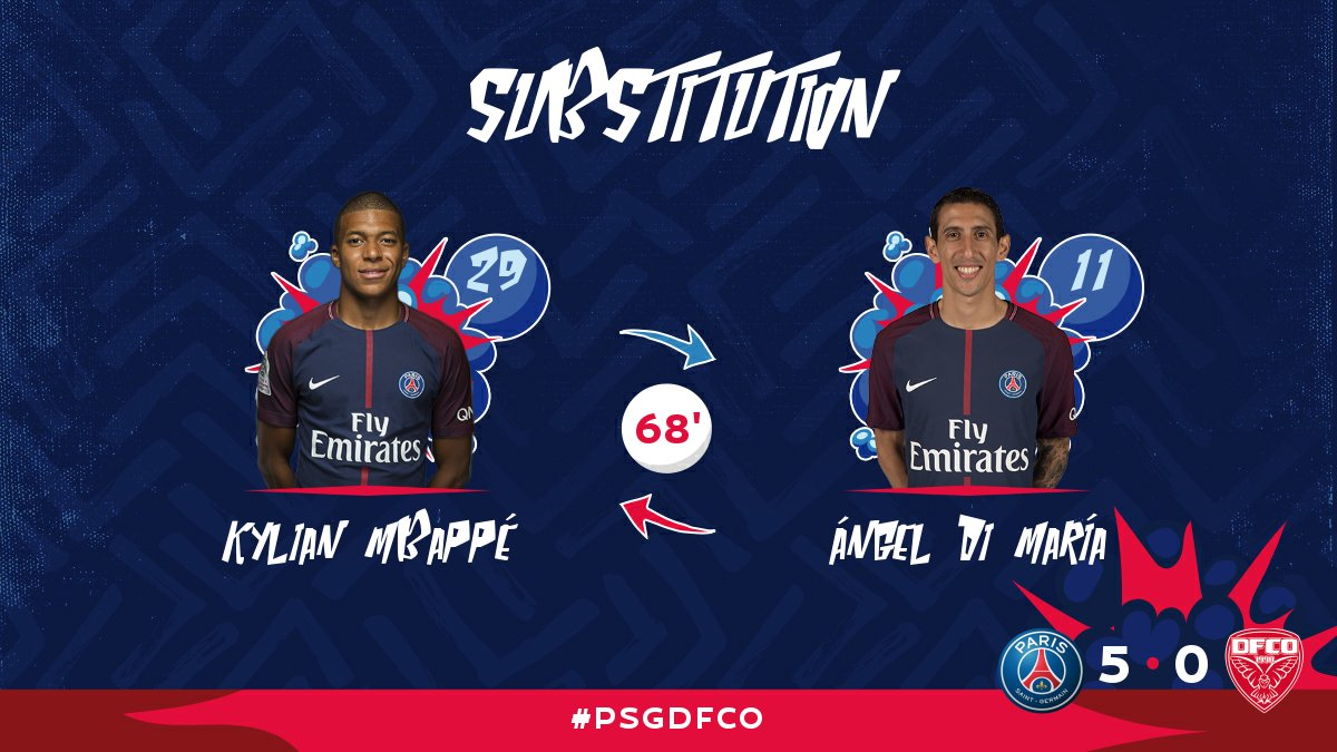 68' Second substitution for PSG: @KMbappe replaces Ángel Di María, who gets a nice ovation from the Parc !! #PSGDFCO https://t.co/9fXTbIarv7