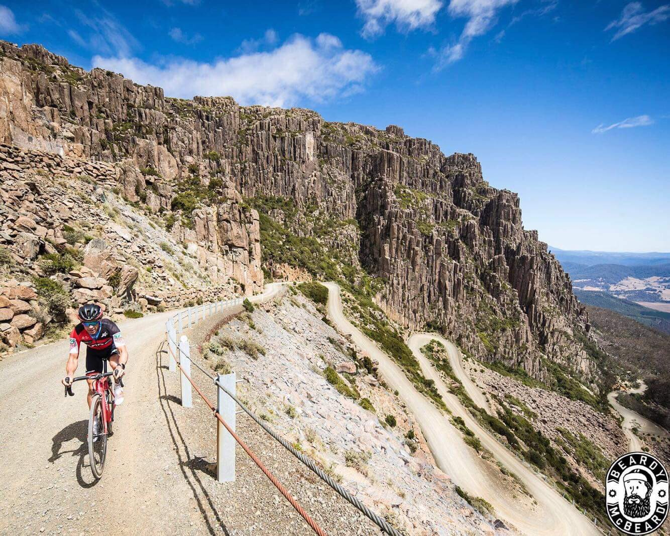 Rode up this beast yesterday, one of the best climbs I've ever done. Tassie roads never cease to amaze! #benlomond #jacobsladder #Giro 📷 @McbeardBeardy https://t.co/1cckIir331