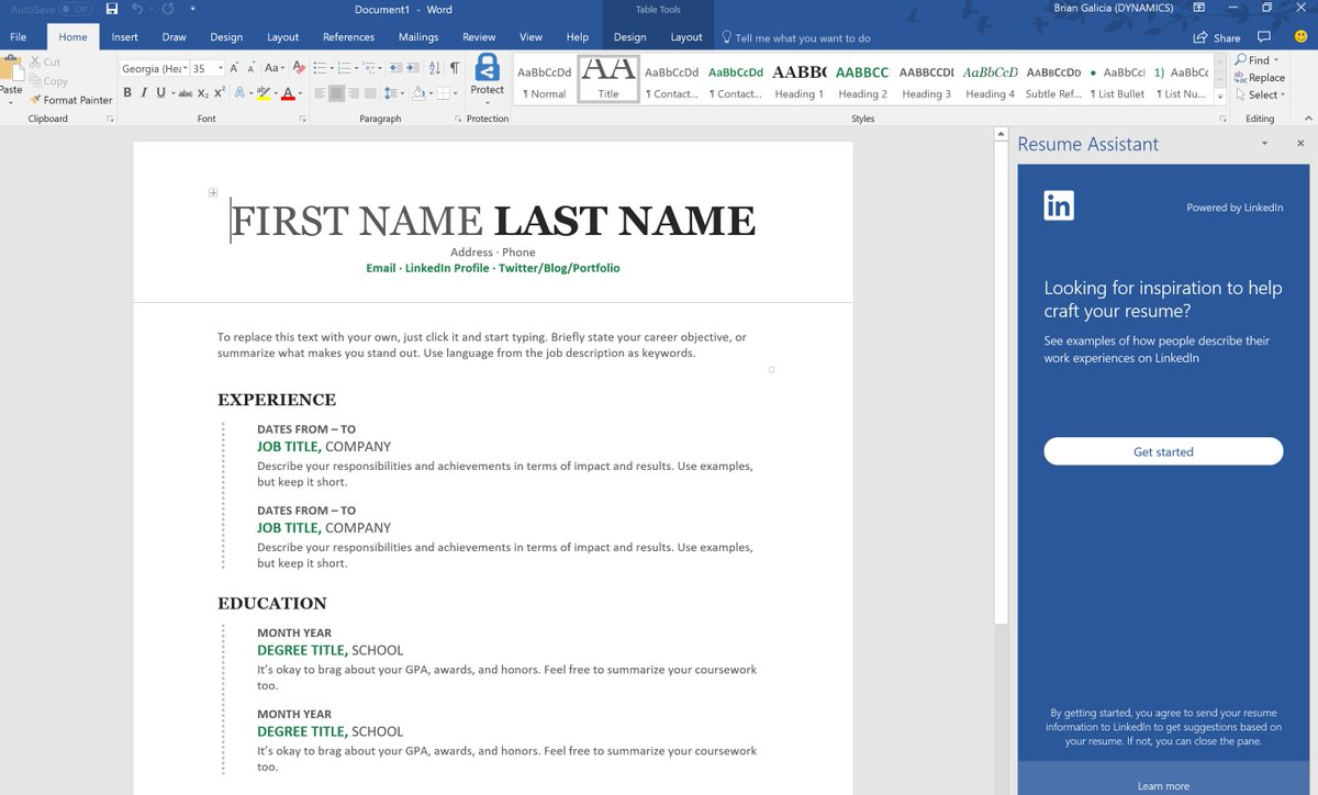 Write your best resume in Word with help from LinkedIn in