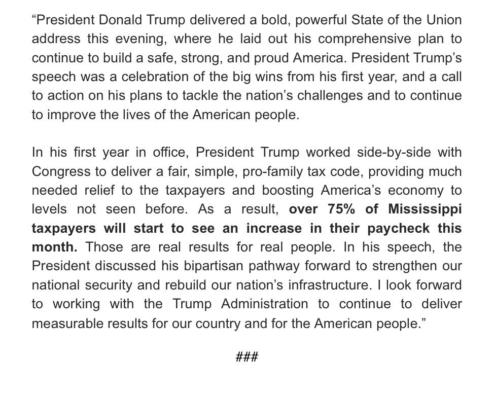 That was Dynamic! Read my official statement on President Trump's first #SOTU below: https://t.co/AbEndFBxmA
