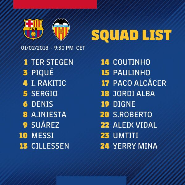 RT @FCBarcelona: ???? Our #CopaBarça squad list for Thursday's game against Valencia... ???????? #ForçaBarça https://t.co/m6IoOoCYeE