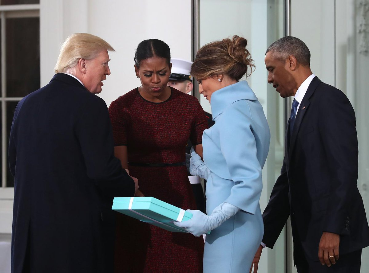 Michelle Obama has revealed the Tiffany gift Melania Trump gave her on inauguration day
