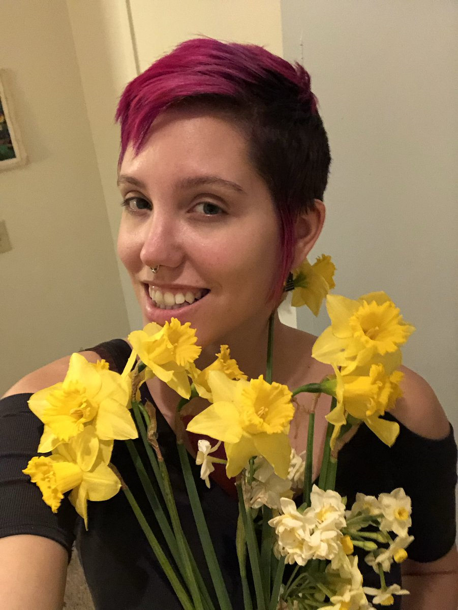 Imbolc is tomorrow so I got myself these pretty flowers from the farmers market to celebrate and decorate