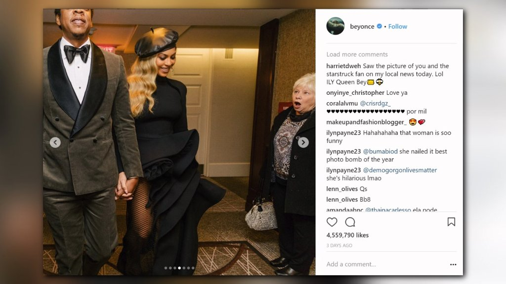Beyonce photo captures grandmother's star-struck reaction