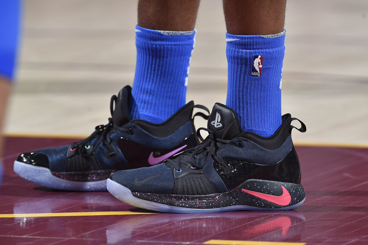 """ad6faa796a4f Paul george debuts the nike pg2 """"playstation"""" vs. cleveland  thunderup"""