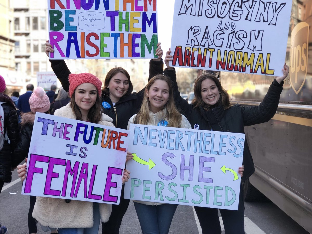 So proud of my daughter and her friends standing up for their rights.   #WomensMarch2018 ???????????? https://t.co/ER9qmEwo3w