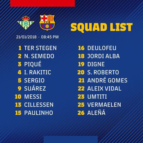 ������ Le groupe du Barça convoqué pour aller défier le Betis, avec @samumtiti ! #ForçaBarça #BetisBarça https://t.co/TSZIAO0zTl