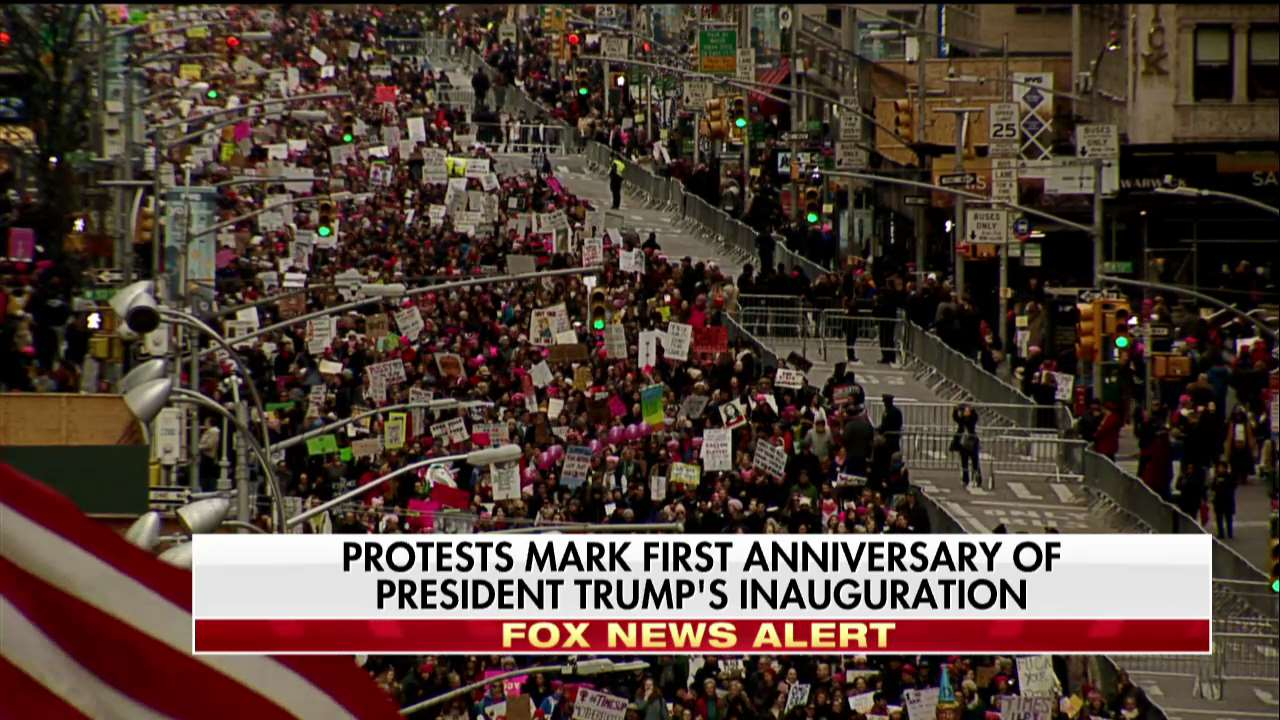 Protests mark first anniversary of @POTUS's inauguration. For full live coverage, tune in to Fox News Channel. https://t.co/qCx5uJRBcg