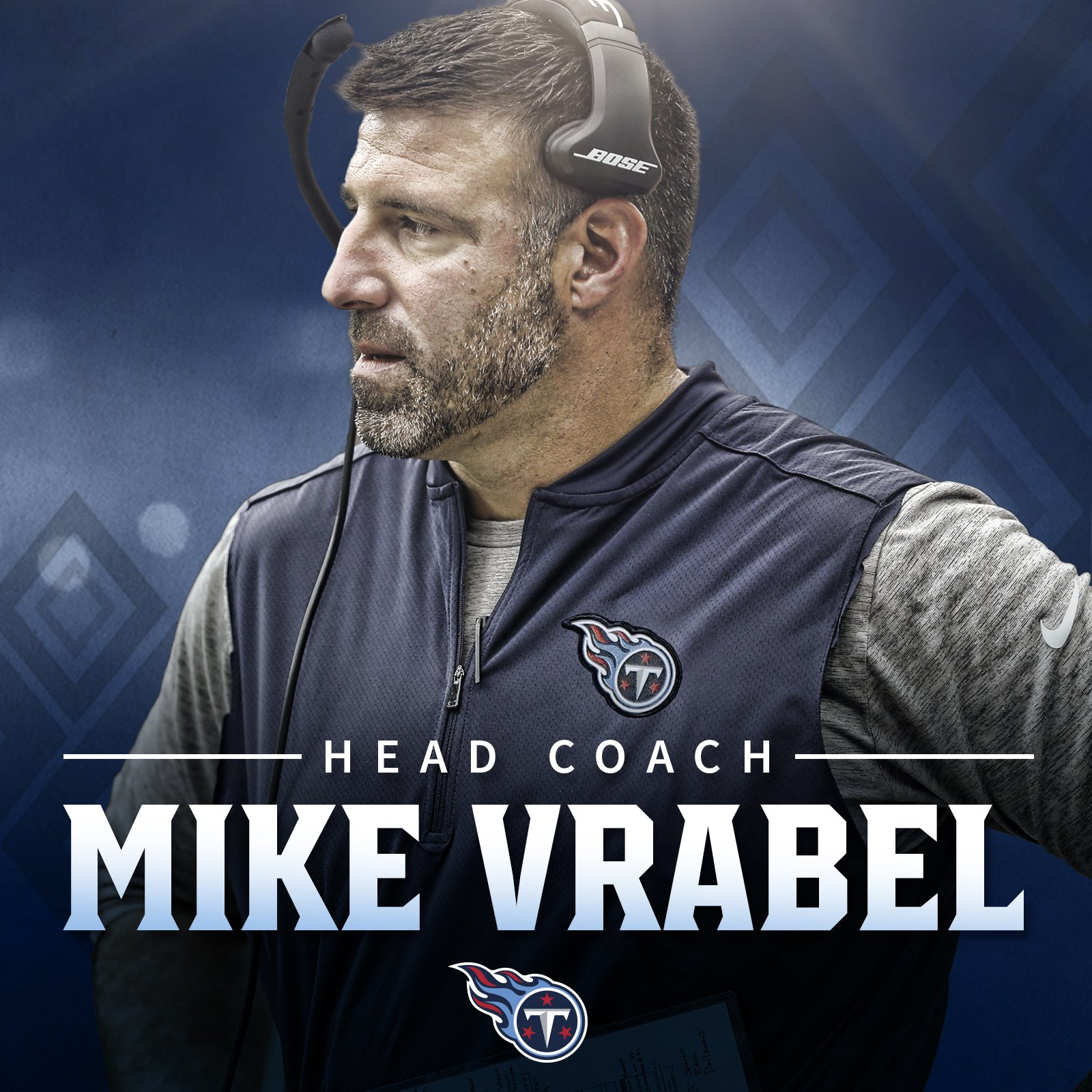 The new head coach of the Tennessee Titans is Mike Vrabel. #TitanUp   Leader of Men �� » https://t.co/mE5I53cZs8 https://t.co/P9WuvJ7Kol