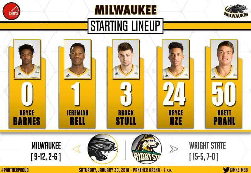 Here is your @IansPizzaMKE Starting Lineup this evening against the Wright State Raiders! https://t.co/qpn9Sbitwk