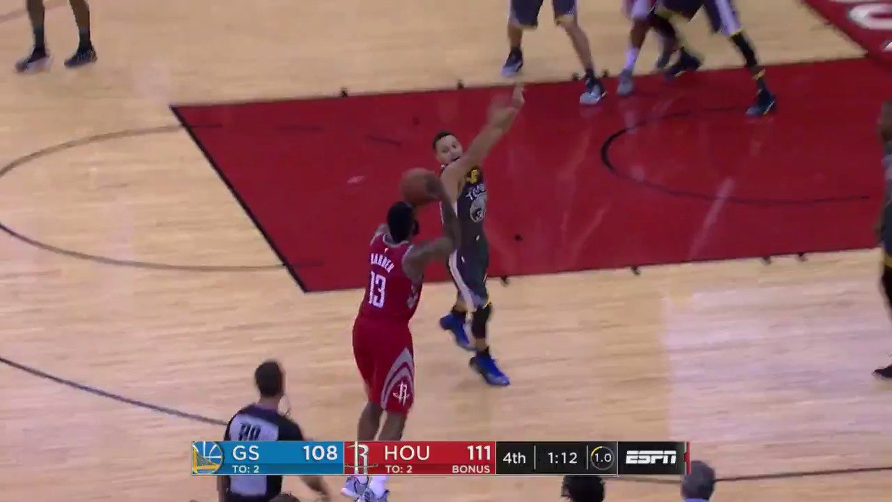 #JamesHarden shakes and bakes for the three!  #DubNation 108 / #Rockets 114  ��: #NBAonABC https://t.co/1TBAoe21vj