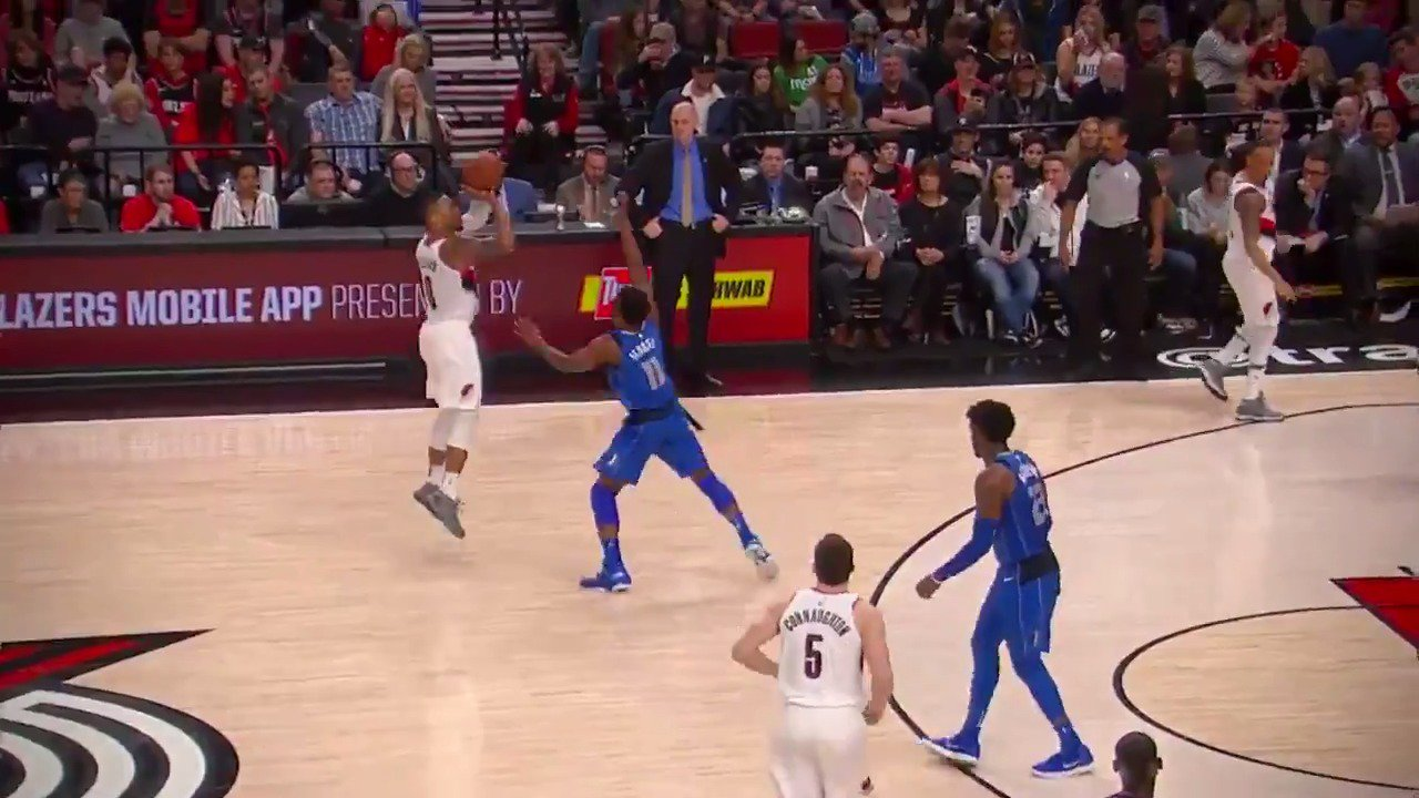 Dame Lillard hits the DEEP three!  He is a perfect 7/7 from beyond the arc!  #RipCity https://t.co/pb8X14G8FF