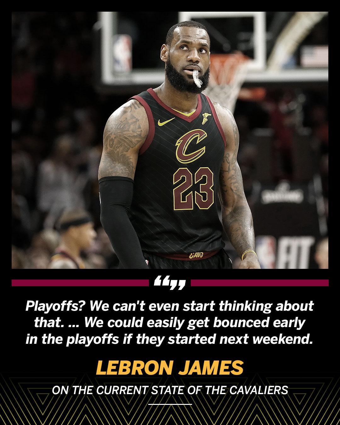 LeBron is worried about the next game, not the playoffs. https://t.co/wzk2WlbX7G