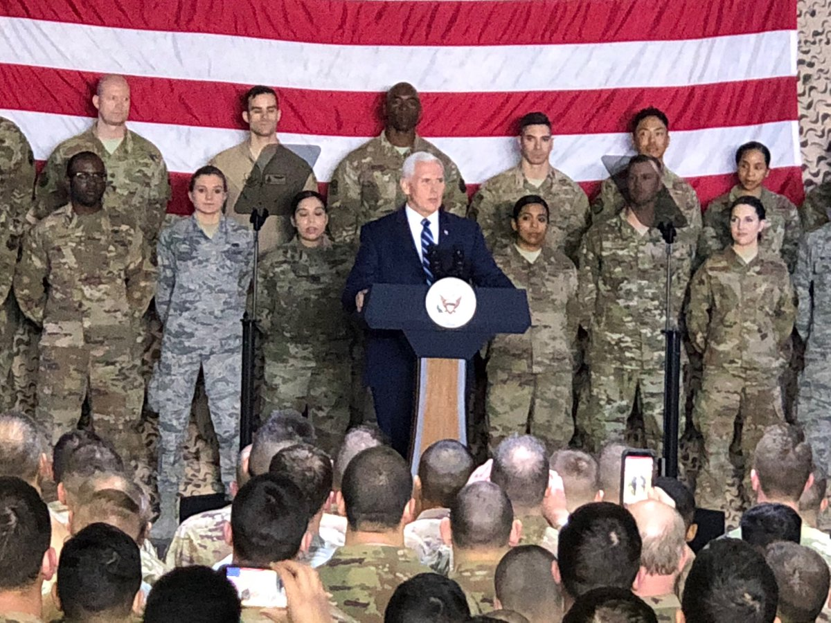 Depressing. The Vice President, visiting American troops abroad, uses them as props for a partisan political message. https://t.co/kneb95jq0d