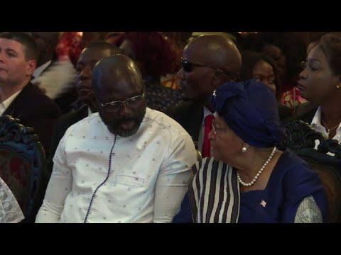 George Weah, Ellen Johnson Sirleaf attend church service