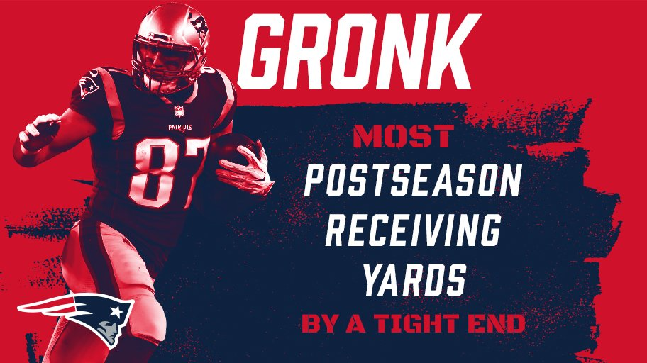 .@RobGronkowski: the @NFL's all-time leader in postseason receiving yards by a tight end. #GoPats https://t.co/s7n0mfbJDq