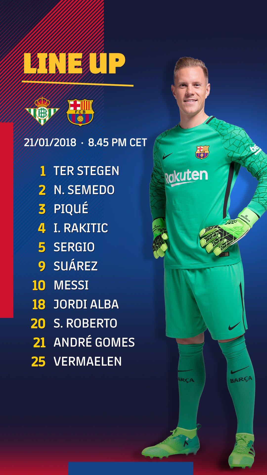 Barça XI ⚽ #BetisBarça ���� #ForçaBarça! https://t.co/ZRM5CNhHGW