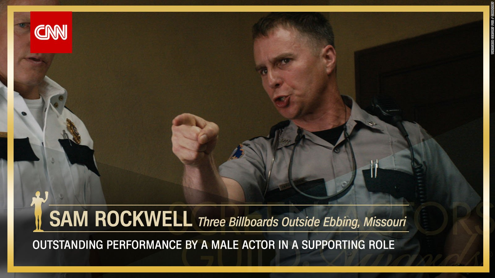 Sam Rockwell wins Outstanding Performance by a Male Actor in a Supporting Role. https://t.co/cPly9Wzl8b #SAGAwards https://t.co/yAzHv9BNrb