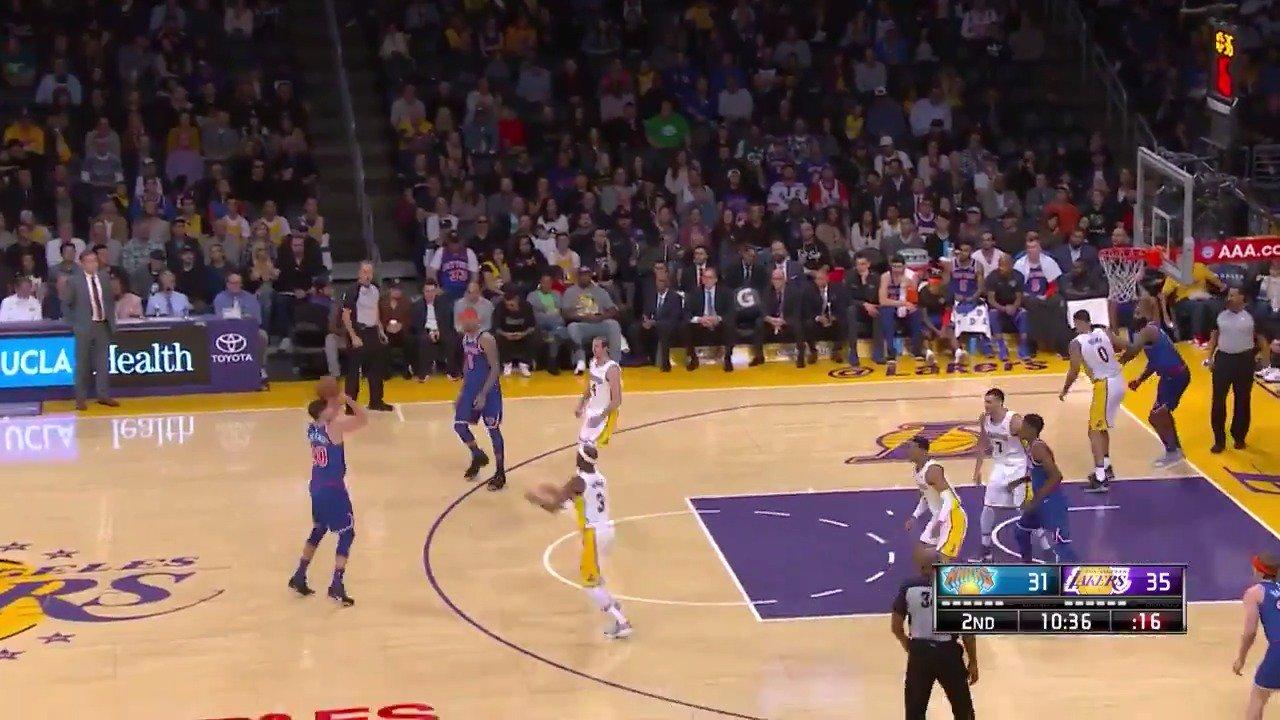 The @NYKnicks swing the ball for the McBucket!  #Knicks   ��: #NBALeaguePass https://t.co/z5mfEm0V5i