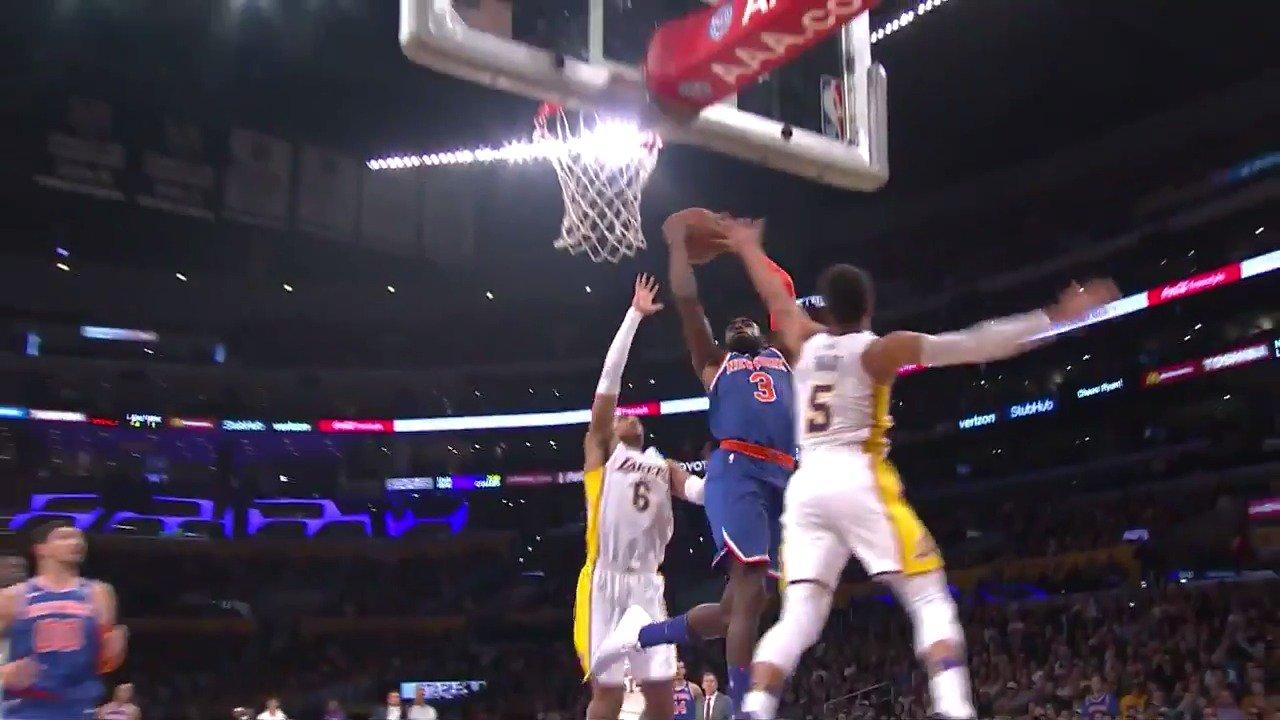 Josh Hart and Jordan Clarkson team up for the transition block!  #LakeShow   ��: #NBALeaguePass https://t.co/jiWFgrcCkV