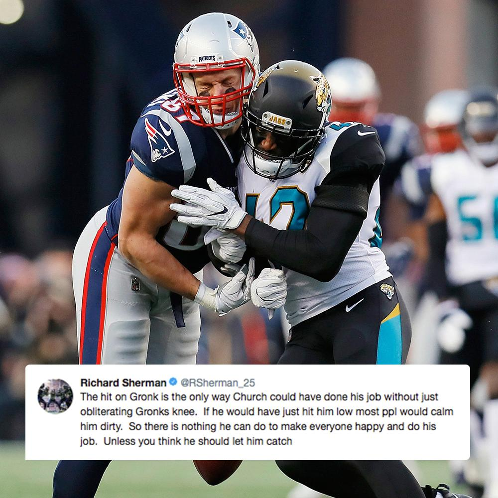 Richard Sherman bringing some insight to Barry Church's unnecessary roughness penalty on Gronk: https://t.co/RGFc6oXjmK