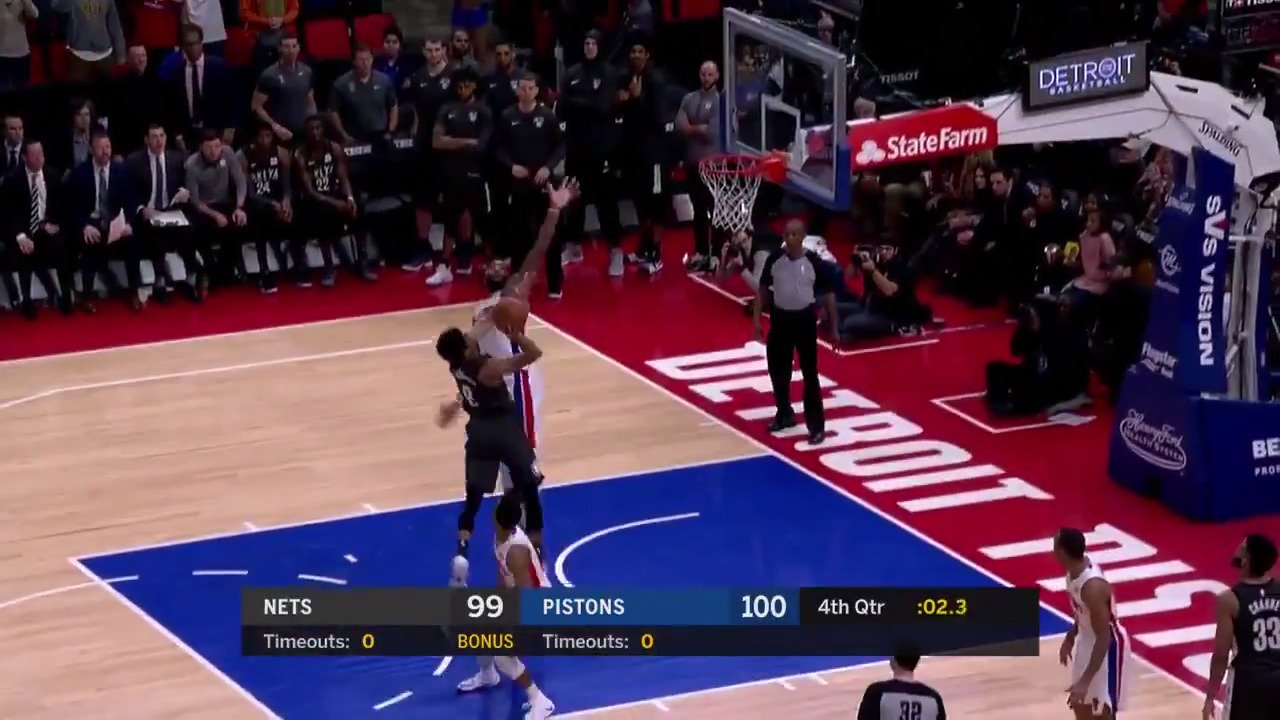 The clutch shot by Spencer Dinwiddie to lead the @BrooklynNets to the win!  #WeGoHard https://t.co/U7oQjuVQcm