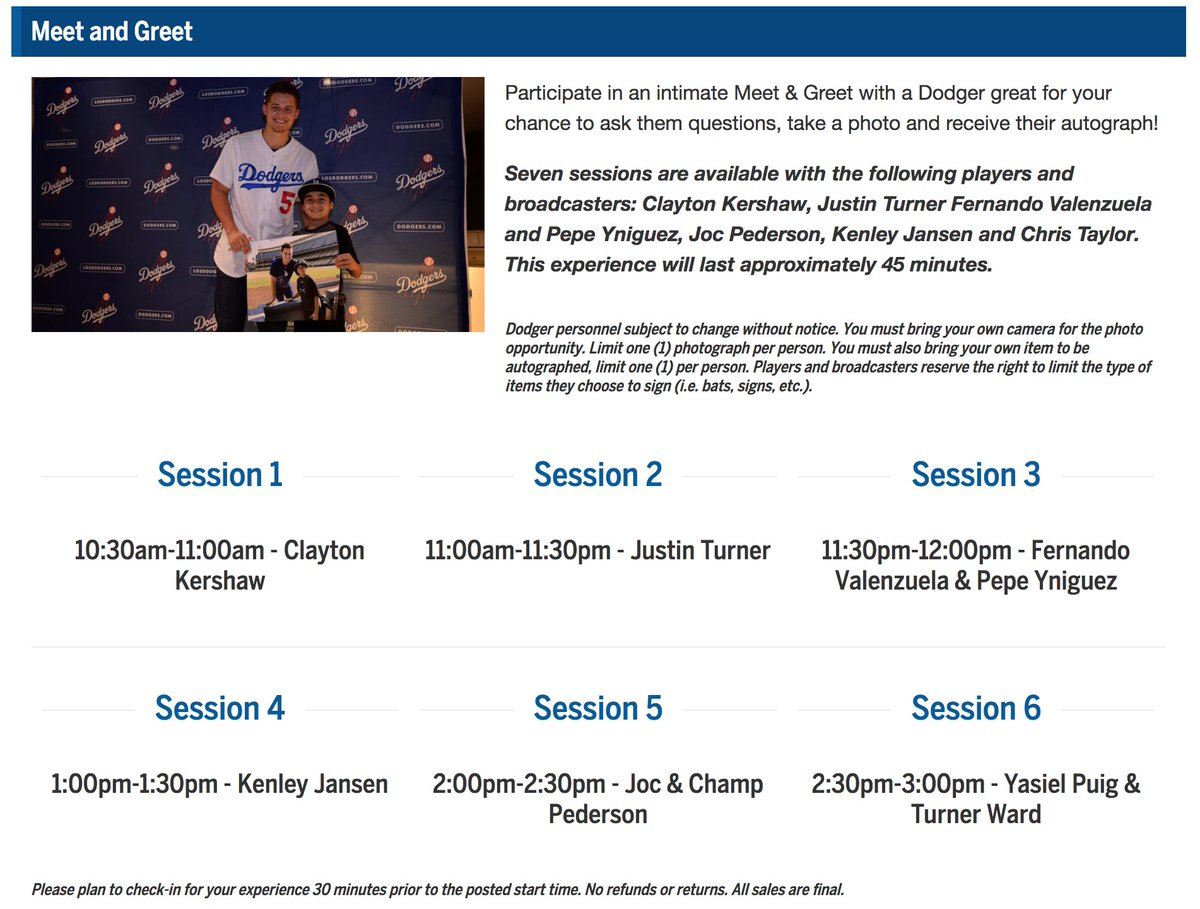 #Dodgers Meet and Greet sessions for #DodgersFF. No prices have been posted yet. Will be available for purchase tomorrow at 2:30pm https://t.co/QtyyYHIDl0