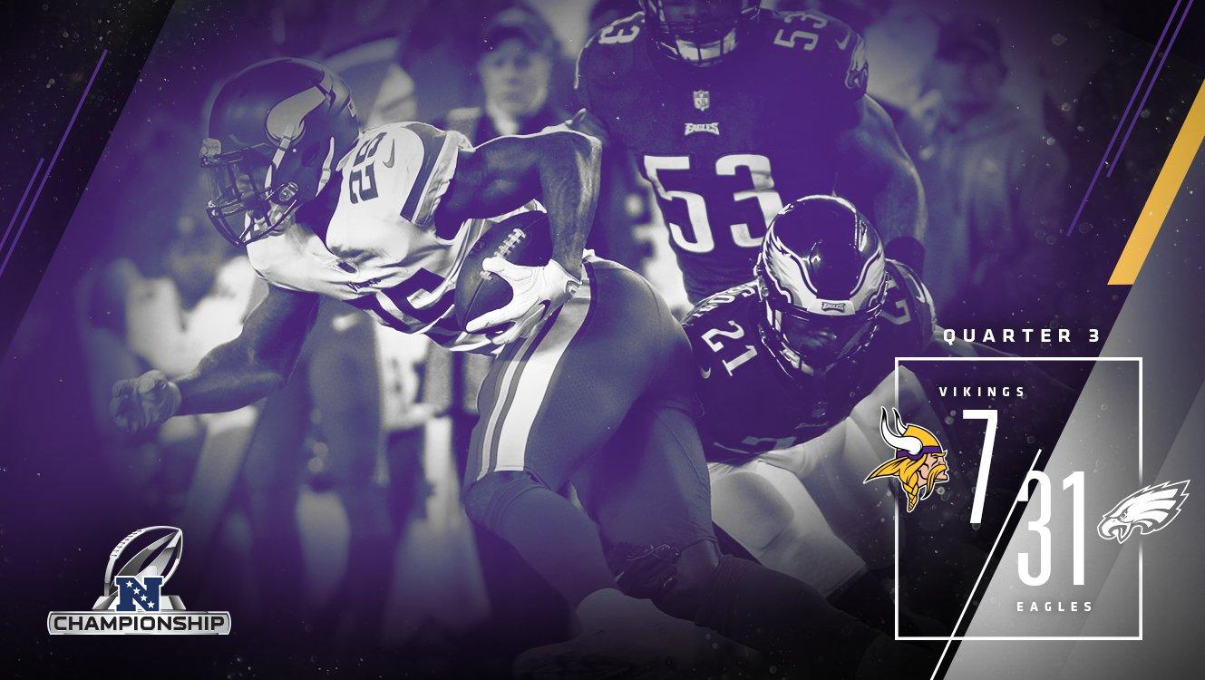 The #Vikings trail 31-7 heading into the final quarter. https://t.co/mU910oq19P