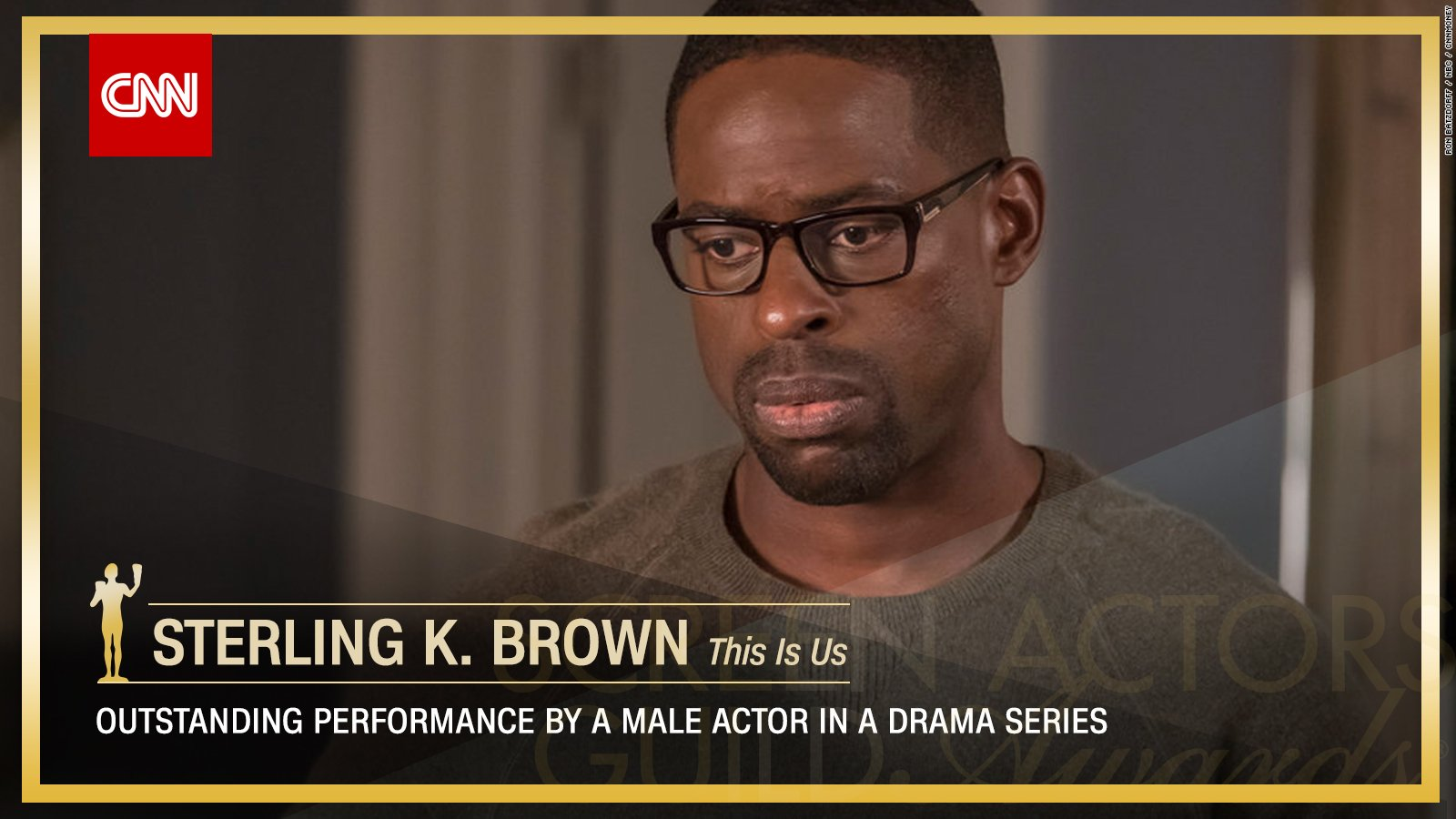 Sterling K. Brown wins Outstanding Performance by a Male Actor in a Drama Series. https://t.co/cPly9Wzl8b #SAGAwards https://t.co/awSnjf0cyJ