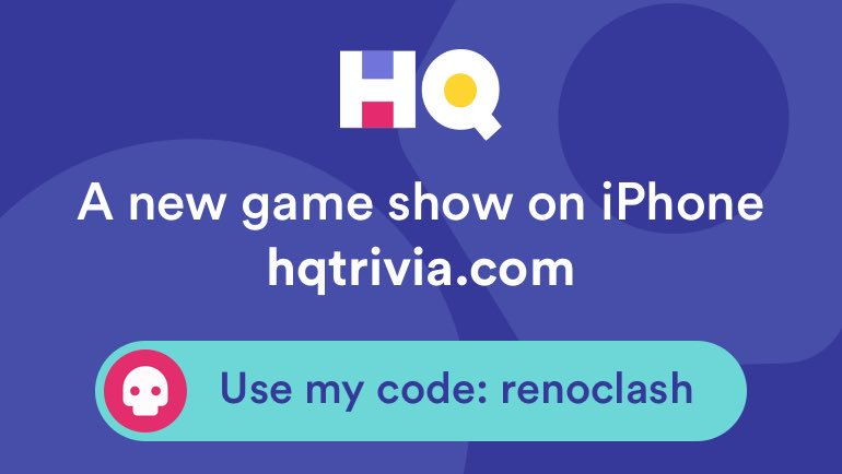 $2146 won by 7 folks tonight. What are you waiting for!? Use my code 'renoclash' to sign up https://t.co/1V69RmWaSc #HQTrivia https://t.co/PZMnQ8631m