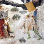 RT : 北イタリア、トレントの城に描かれた雪景色。貴族たちの雪合戦。14...