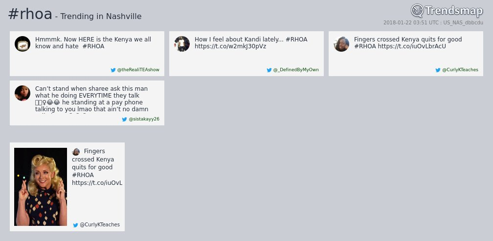 #rhoa is now trending in #Nashville  https://t.co/eeNWAO17Ko https://t.co/X7arsApcrI