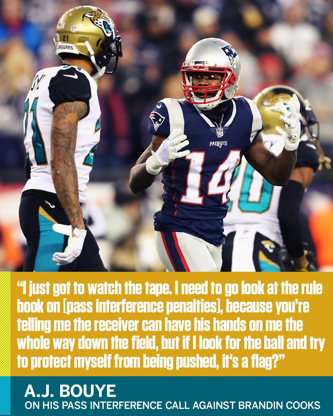 A.J. Bouye took issue with a big call in the Jaguars' loss to the Patriots. https://t.co/o7DOlmlc1T