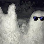 帰宅後自宅の雪かきしてあまりにも積もってたので雪だるま作ったった♪一応きょしょモンと義モン… ツイン...