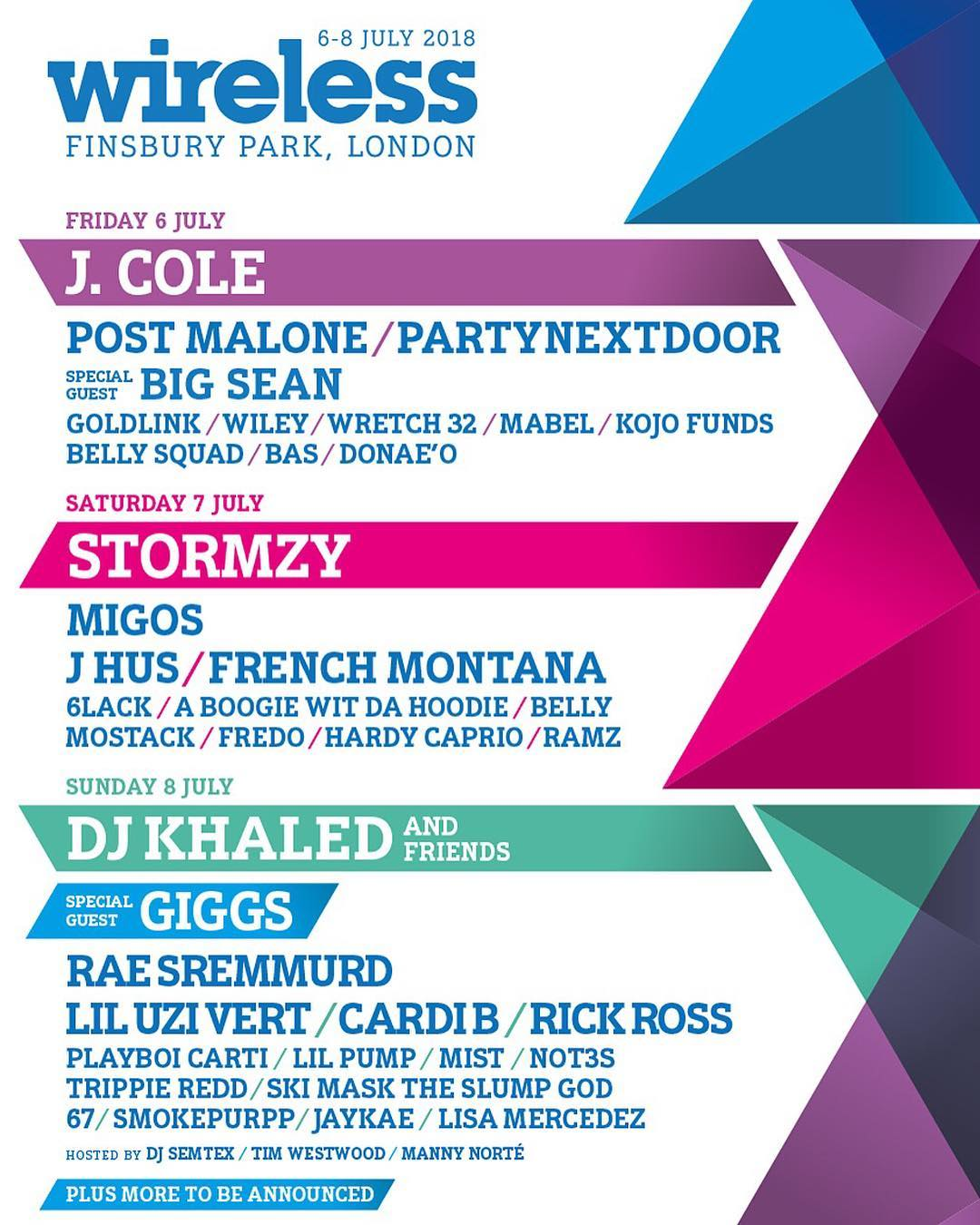 .@Stormzy1, @JColeNC, and @djkhaled to headline London's Wireless Festival. https://t.co/Wjr99RZJQp https://t.co/PWIsEyqJDt