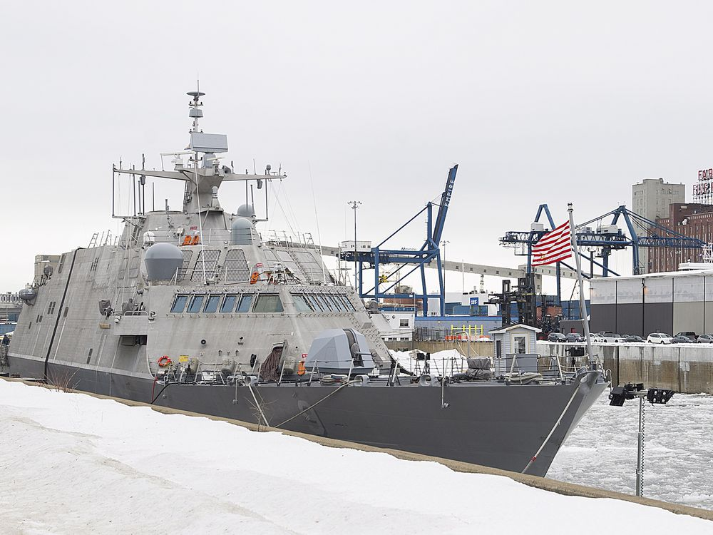 Stuck in heavy ice since Dec. 24, new U.S. warship will have to wait out winter in Montreal