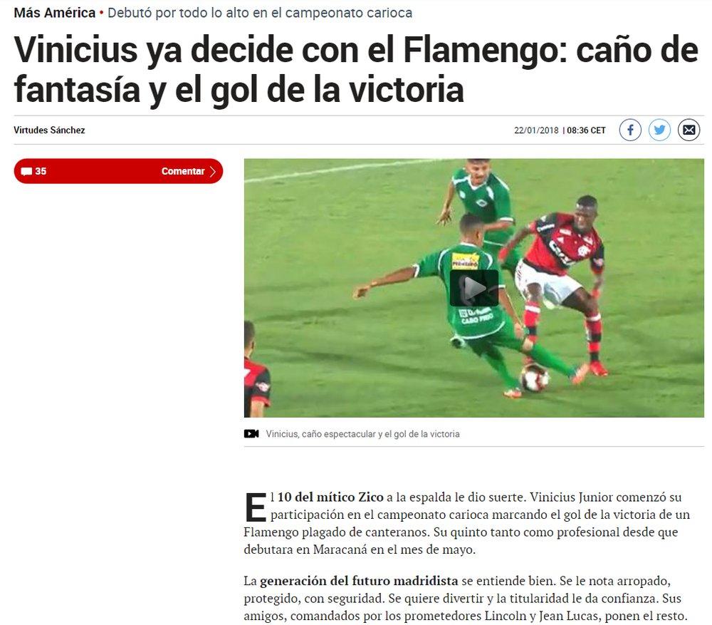 a7f6e0fdd7 Jornais de Madri elogiam Vinicius Junior por boa atuação   A 10 de Zico lhe