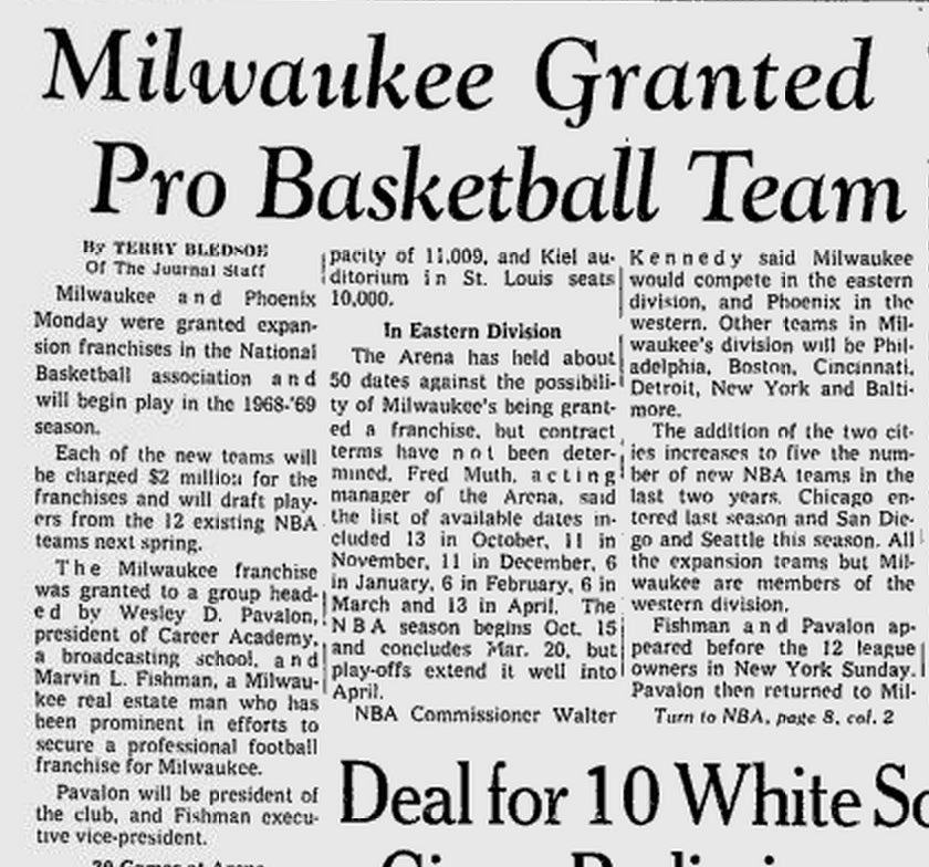 On this day in 1968 Milwaukee and Phoenix (@Suns) were granted expansion @NBA franchises. Tonight we meet @BMOHBC!! https://t.co/FOATRwrYSR
