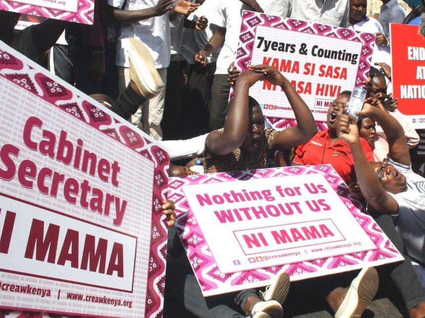 Women protest demanding slots in Uhuru's 'men only' Cabinet