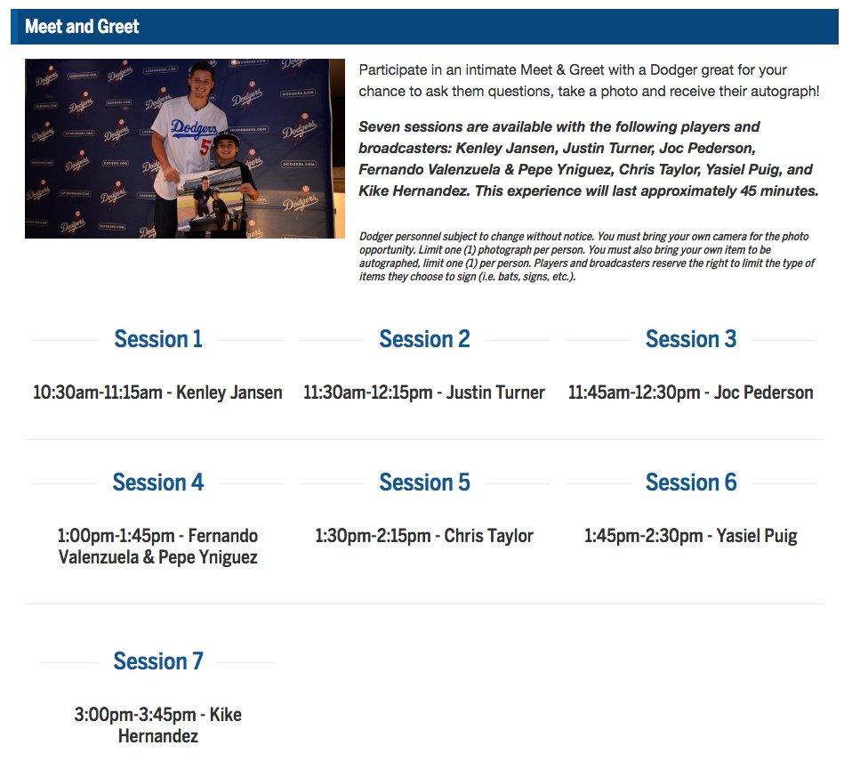 An update to the #Dodgers Fan Fest Meet and Greet schedule. https://t.co/qF6ppksvhb