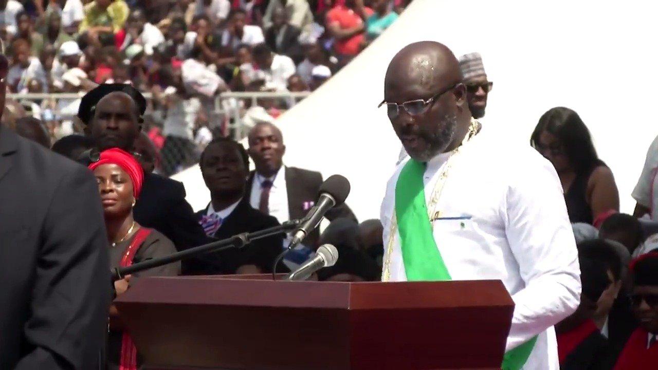 WATCH: Former soccer star @GeorgeWeahOff is sworn in as Liberia's president https://t.co/LlrRra6jCP @ReutersTV https://t.co/Ayp9kwM6DO