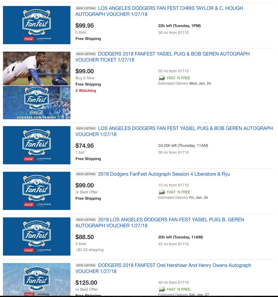 So did you miss out on #Dodgers Fan Fest Autograph vouchers? Looks like they are on eBay already for 4x the price 🤦 https://t.co/myelbmbsnr