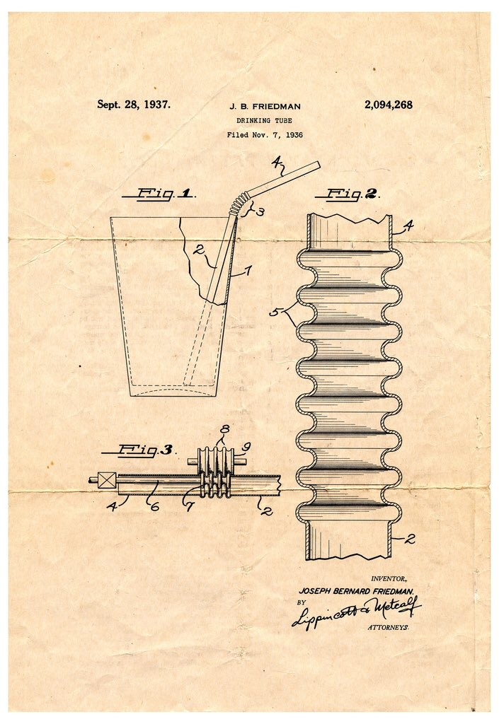 RT @john_overholt: How beautiful is the patent for the bendy straw? https://t.co/YfxNZKjD1Q https://t.co/T6LRaa8nCC