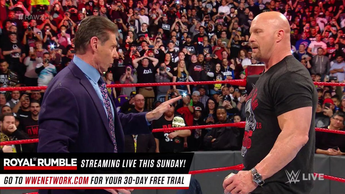 RT @WWE: OH HELL YEAH!! Some rivalries NEVER die as @steveaustinBSR STUNS @VinceMcMahon AND @ShaneMcMahon!!!! #RAW25 https://t.co/lLj8eMUI0f