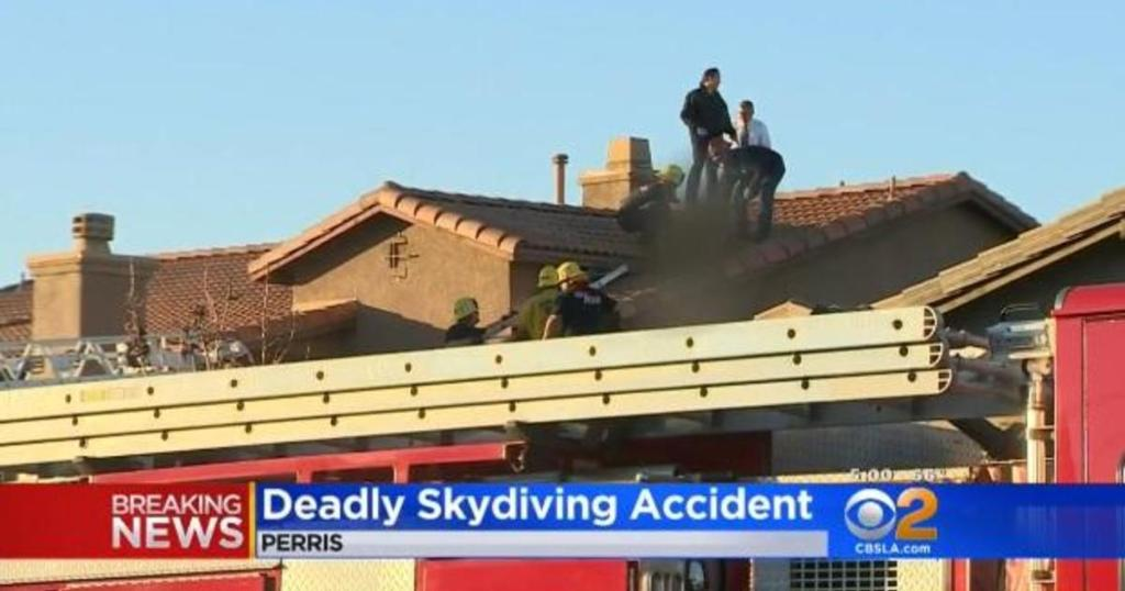 A skydiver was killed after landing on the roof of a California home, officials say