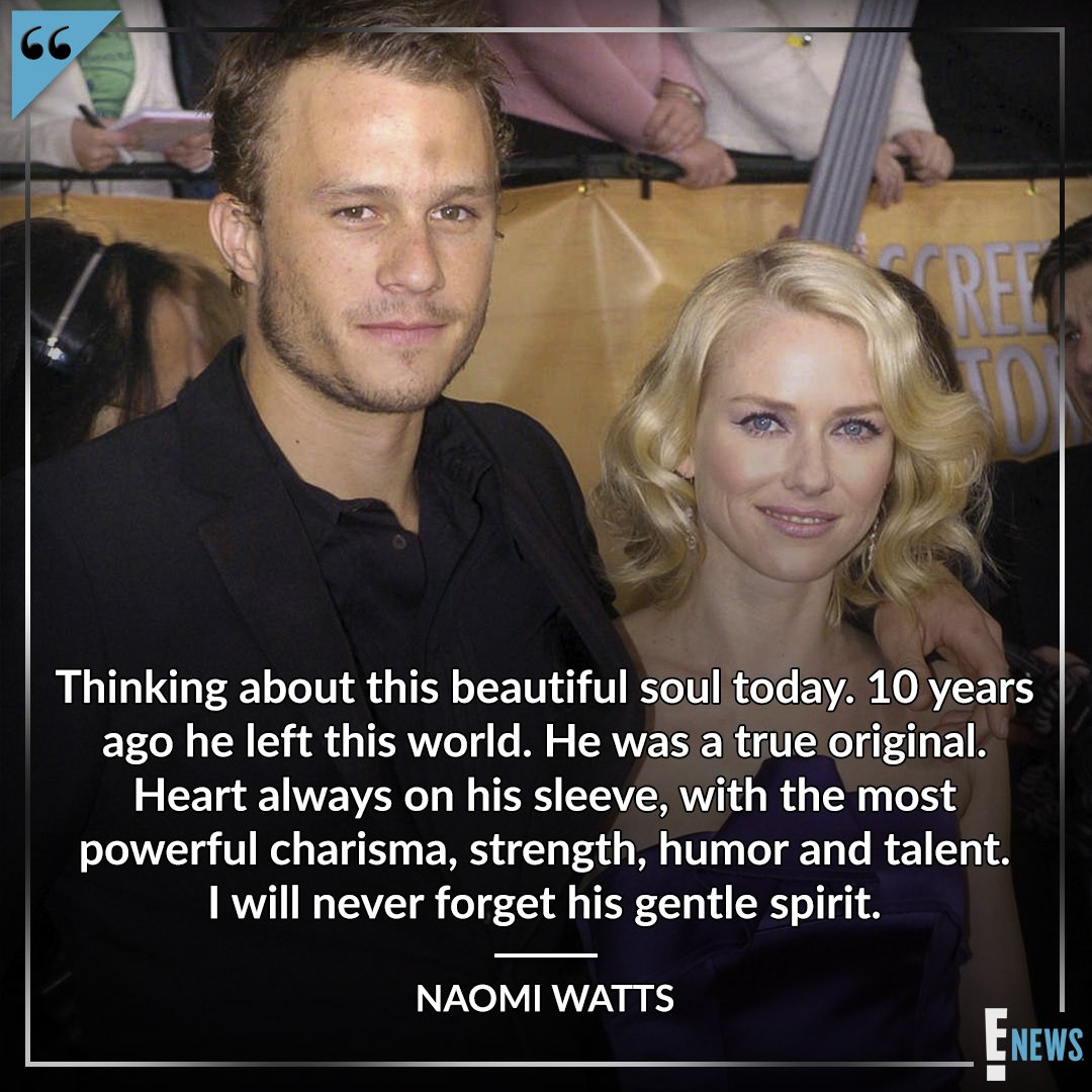 Naomi Watts is paying tribute to Heath Ledger on the 10th anniversary of his death: