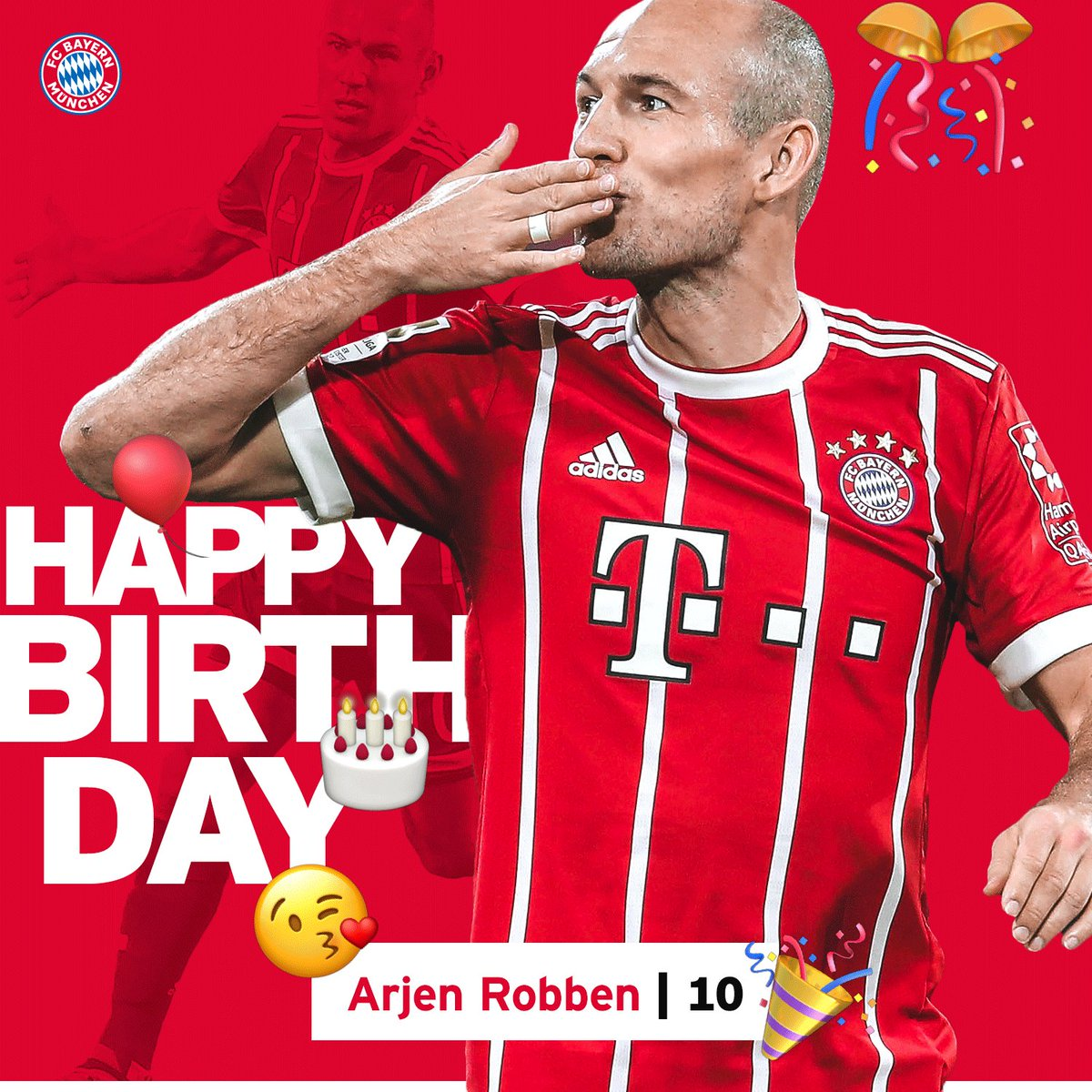 RT @FCBayernEN: Happy birthday to our one and only @ArjenRobben! 🎊🎉🎁 #MiaSanMia https://t.co/LstxtQE4zw
