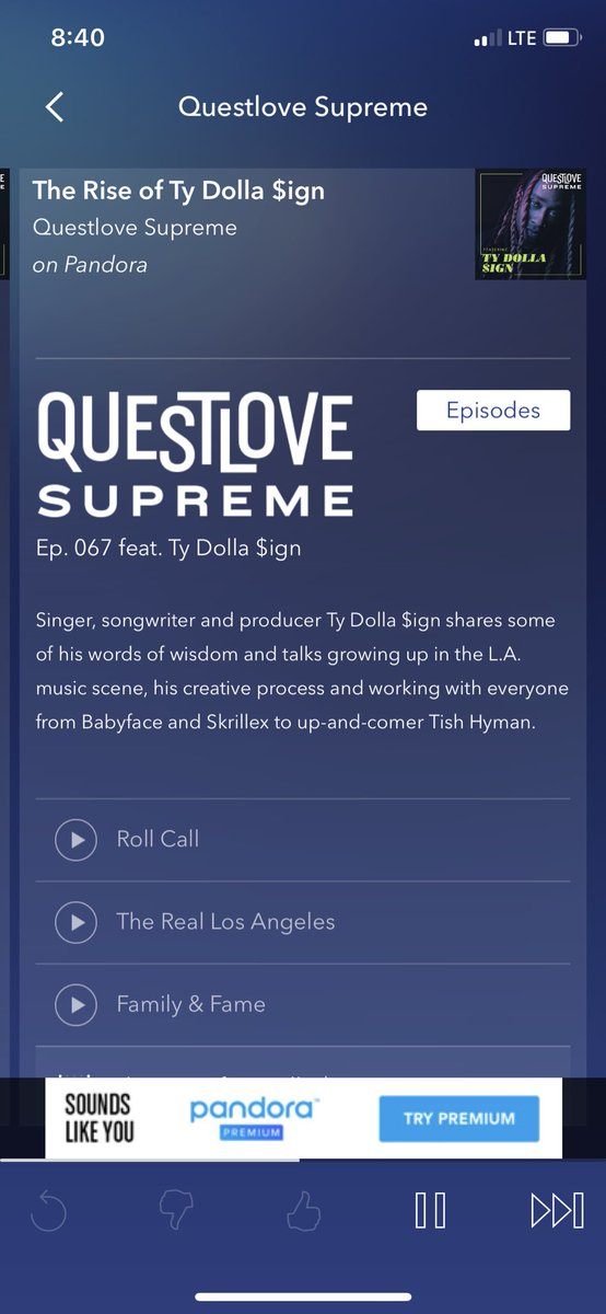 RT @jonharrisjr: s/o to @questlove & the @qls on Pandora Radio....dope interview w/ @tydollasign https://t.co/Dzvy5BRI7X