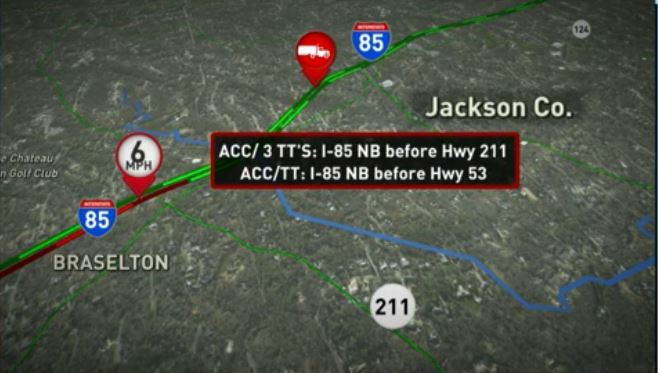 Two wrecks on I-85 NB causing major delays in Gwinnett and Jackson counties https://t.co/bsjpNCnlVG https://t.co/OfYxHYRWUX