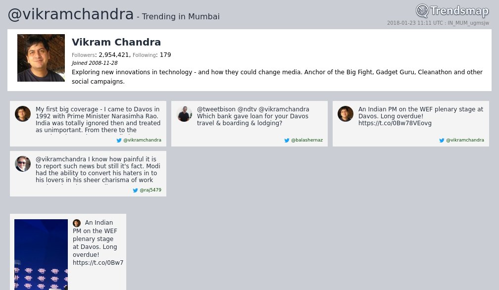 Vikram Chandra, @vikramchandra is now trending in #Mumbai  https://t.co/rYJYUt45os htt ...